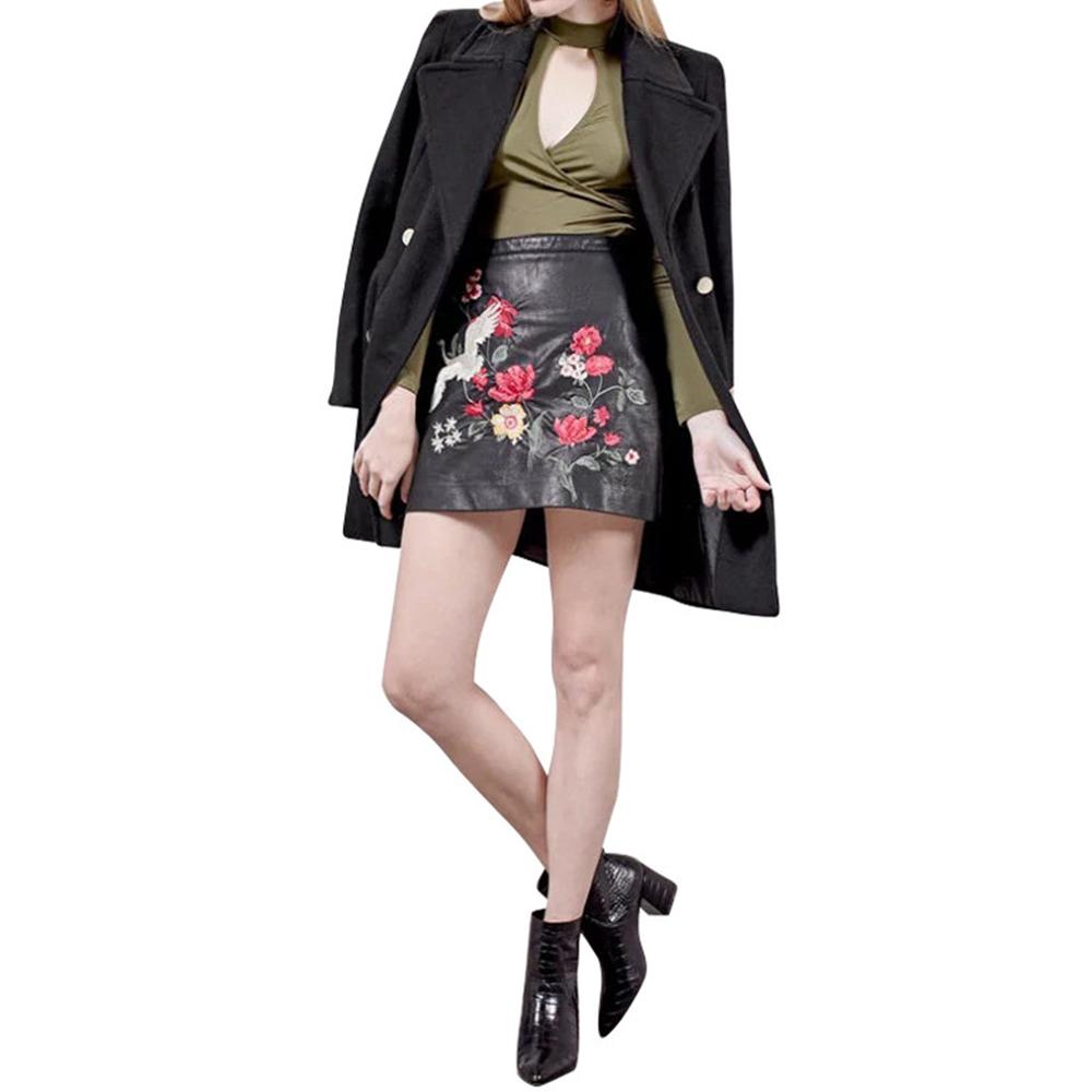 VESTLINDA Black Skirt Floral Embroidery Vintage PU Leather Pencil Skirt Women Slim High Waist Zipper Mini Ethic Plus Size Skirts 11