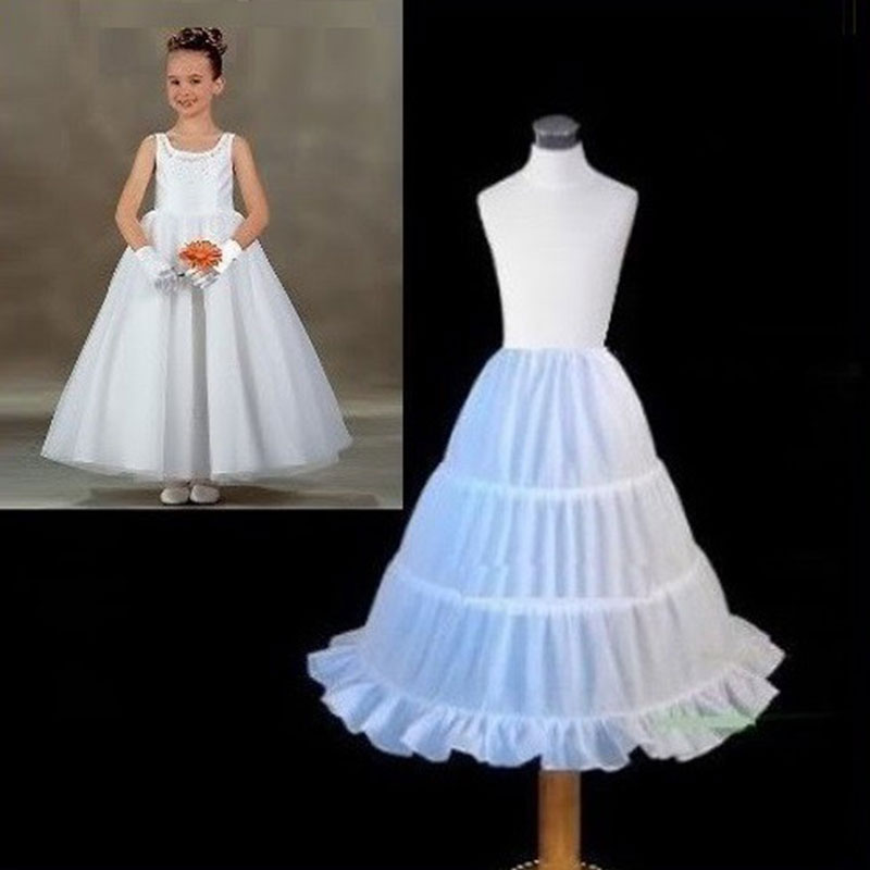 New White Children Petticoat 2018 A-line 3 Hoops Kids Crinoline Bridal Underskirt Wedding Accessories For Flower Girl Dress