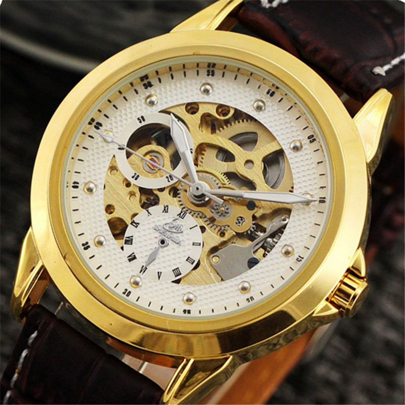 SHENHUA Mens Watches Top Brand Luxury Business Gold Skeleton Mechanical Watch Men Leather Automatic Wrist Watch Male Gift Clock luxury brand shenhua steampunk transparent skeleton crystal flywheel automatic genuine leather strap dress mens mechanical watch
