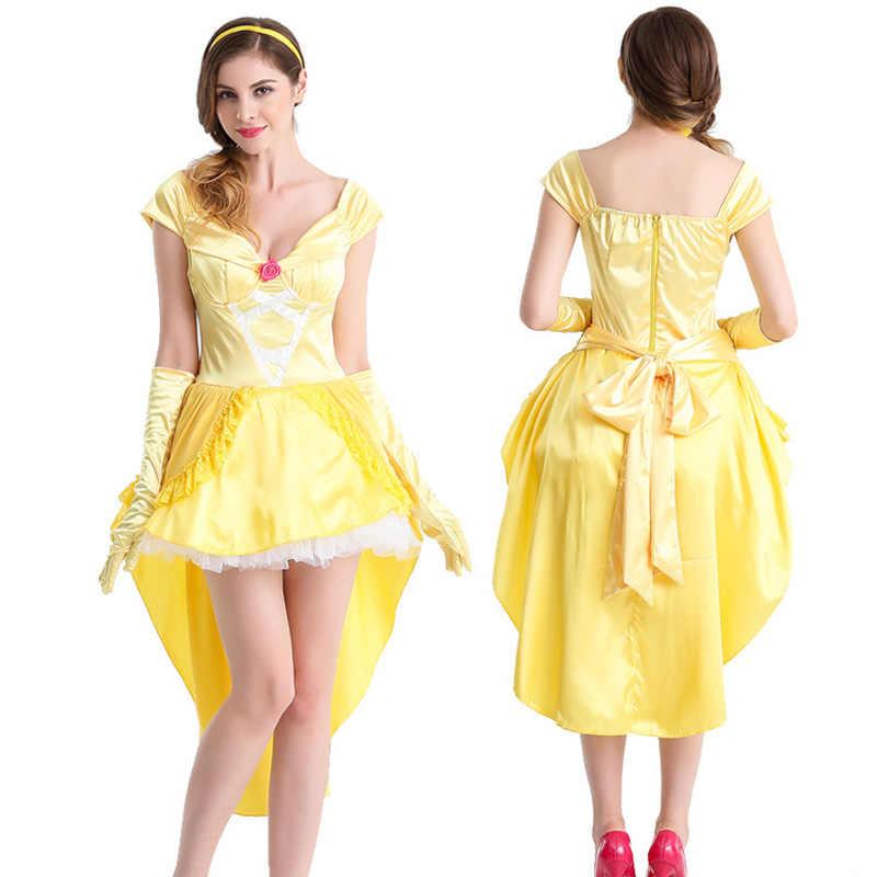 ¡Novedad de 2019! disfraz de fantasía de Halloween para mujer, disfraz de La Bella y La Bestia del Sur, disfraz de princesa Bella para adultos, fiesta de disfraces, Envío Gratis