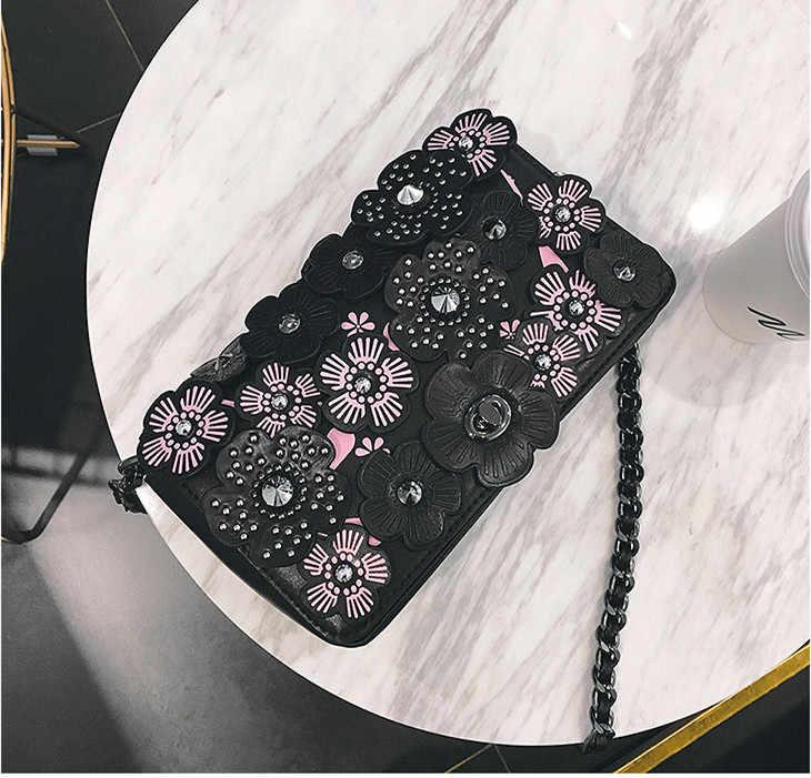 2019 נשים תיקי עור מפוצל תלת ממדי פרחי מסמרות שרשרות קמליה ליידי יד תיק דש כתף Crossbody לבן Ba