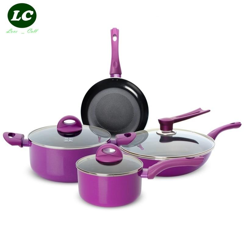 Casseroles ensemble Casserole antiadhésive ensemble Wok poêle Pot de lait pot à soupe cadeau de mariage article violet
