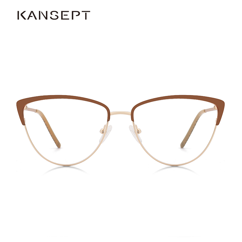 Metal Women Prescription Glasses Frame Elegant Lady New Designer Optical Glasses Frame Clear Lens Eyewear Brown Eyeglasses