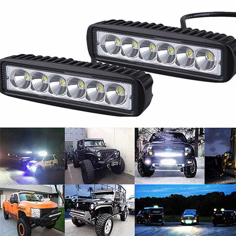6*1.9*1inch Driving Fog Offroad LED Work Car Light 18W 12V LED Universal Car 4WD led beams Work Light Bar Spotlight Flood Lamp