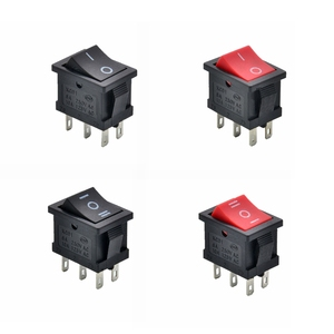 Black Red Car Rocker Boat Switch 6Pin DPDT 2 Position I/O 3 Positions ON/OFF/ON 21x15mm 10A 125VAC 6A 250V 12V Locking(China)