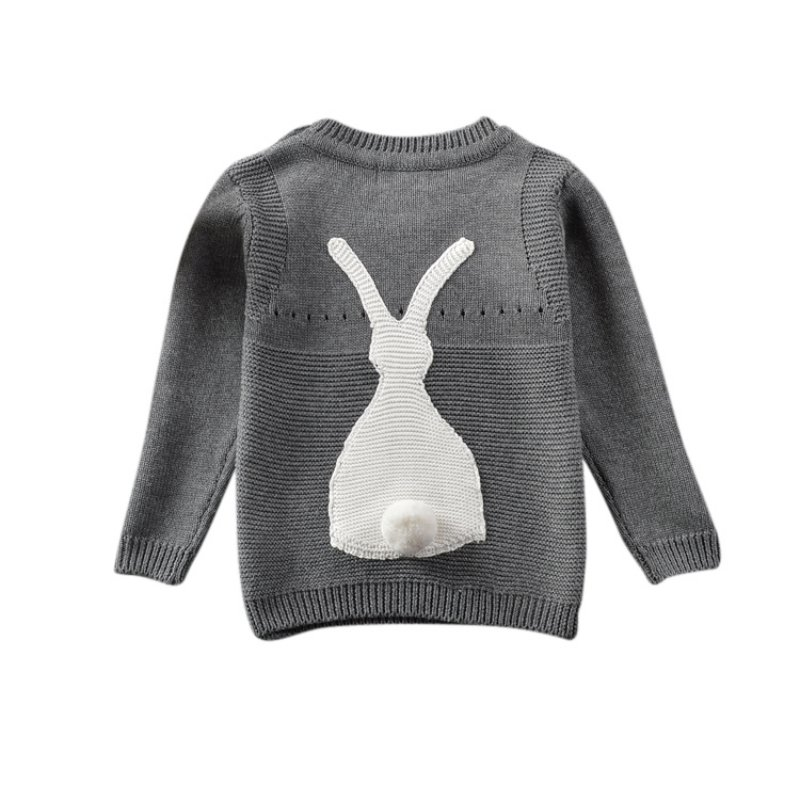 Autumn Baby Girl Sweater Children Bunny Embroidered Long Sleeves Sweater White Black Newborn Baby Girl Cute Pullover Hot Sale long sleeves layered swing sweater dress