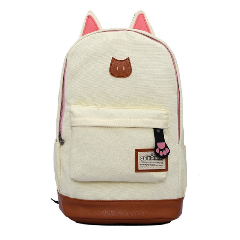 Canvas Backpack For Women Girls Satchel School Bags Cute Rucksack School Backpack children Cat Ear Cartoon Women Bags Beige