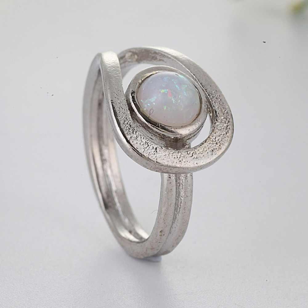 Branco fogo opala anel romântico legal tendência opala anel prata cor anéis para mulher compromisso jóias anillos mujer bague f5x732