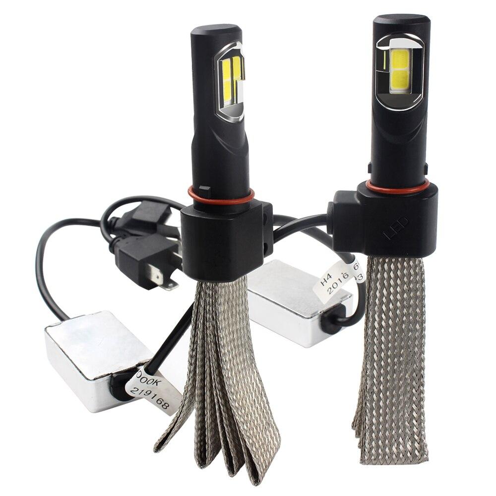 LED Headlight H4 Car Styling Conversion Kit Light Source Aluminum alloy belt Heat Dissipation 6000K 36W/each bulb 4000LM