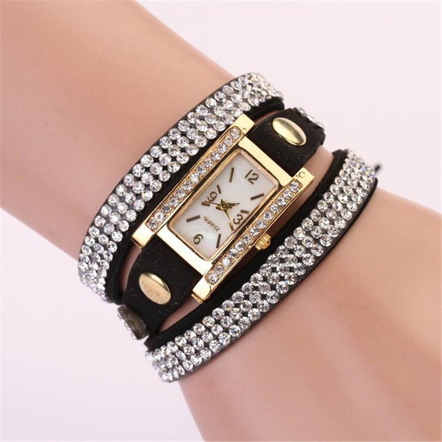 Fashion Dress Design Women Leather Strap Braided Winding Rhinestone Rectangle Quartz Wristwatch Auto Date Clock Relojes Mujer