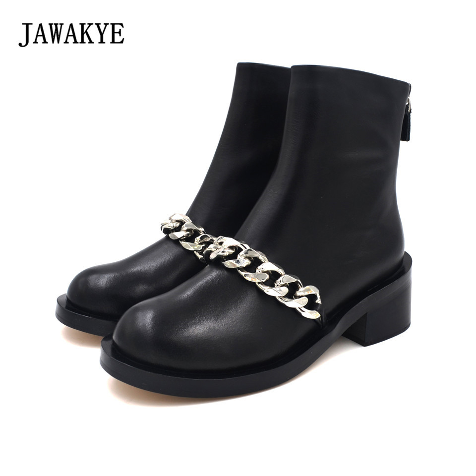 JAWAKYE Round Toe Silver Chains Studded Ankle Boots Women Flat Heel Genuine leather Winter Shoes Motocycle Boots for Women jawakye round toe silver chains studded ankle boots women flat heel genuine leather winter shoes motocycle boots for women
