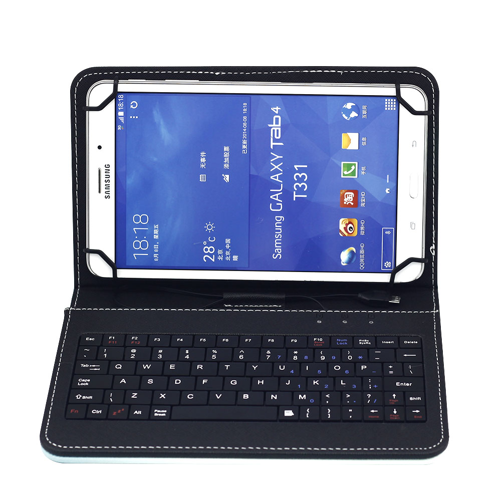 """7"""" 8"""" Tablet Case With Micro USB Keyboard for Amazon Kindle Fire 7 HD 7 HD 8 Cartoon Print Leather Stand Cover Keyboard Case"""