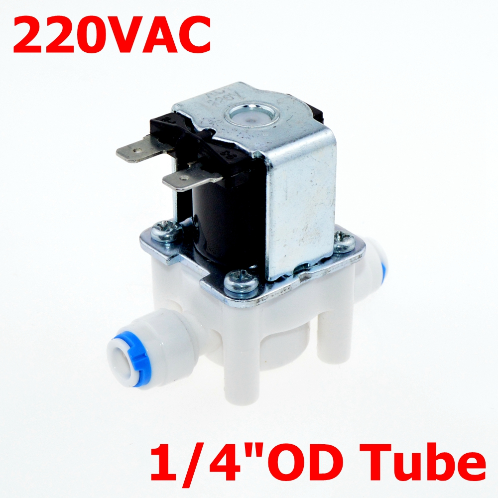 AC 220V NC(Normal Close) 1/4 Hose Pipe OD(6.35mm) Conntection POM for RO Water air oil Electric Plastic Solenoid Valve