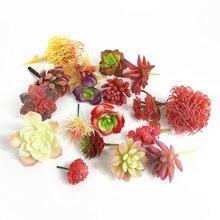 Мини-розовое искусственное суккулентное растение пустынные розовые пластиковые бонсай из цветов зеленое растение украшение стола зеленое растение