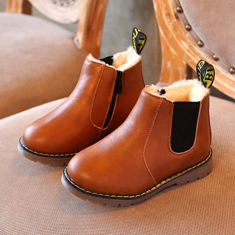 SKHEK Children Boots 2018 Autumn Winter New Handmade Comfortable Girls Boots Leather Martin Boys Boots Fashion Kids Shoe