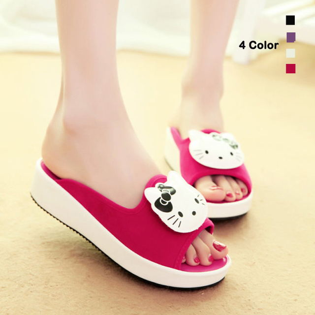 ca2eb951b Summer Cute Hello Kitty Women Genuine leather Suede Summer Sandals High  heel Platform Slippers Thick heel Home slippers