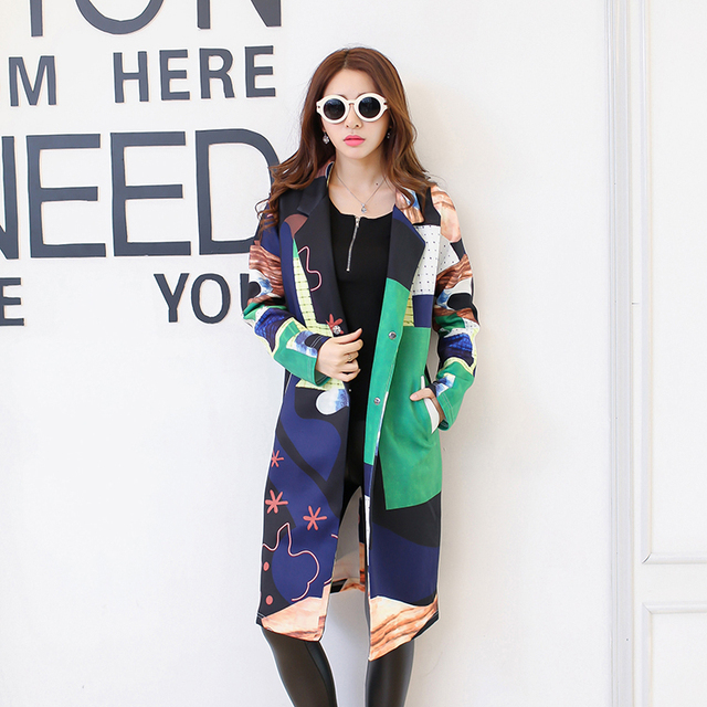 New Fashion autumn winter Printing windbreaker women's double breasted trench coat femal long sleeve overcoat femme coats LX6121