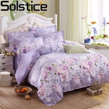 Solstice Purple Pastoral Flowers Style 4pcs Bedding Set Cotton Bed Cover Bed Sheet Duvet Cover Pillowcase Bed Linen Bedclothes