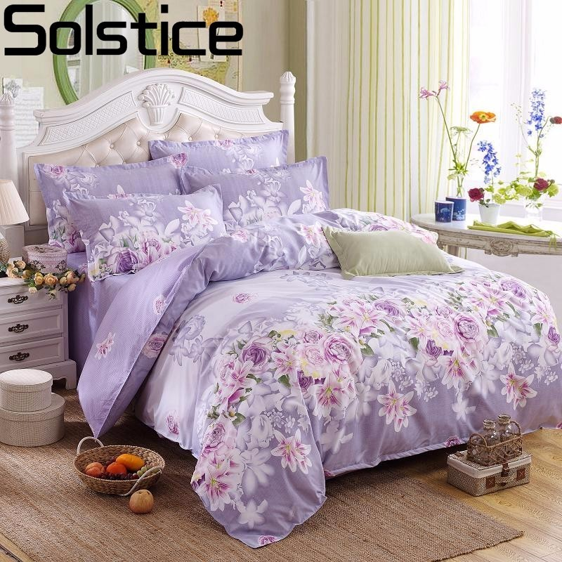 Solstice Purple Pastoral Flowers Style 4pcs Bedding Set Cotton Bed Cover Bed Sheet Duvet Cover Pillowcase Bed Linen Bedclothes