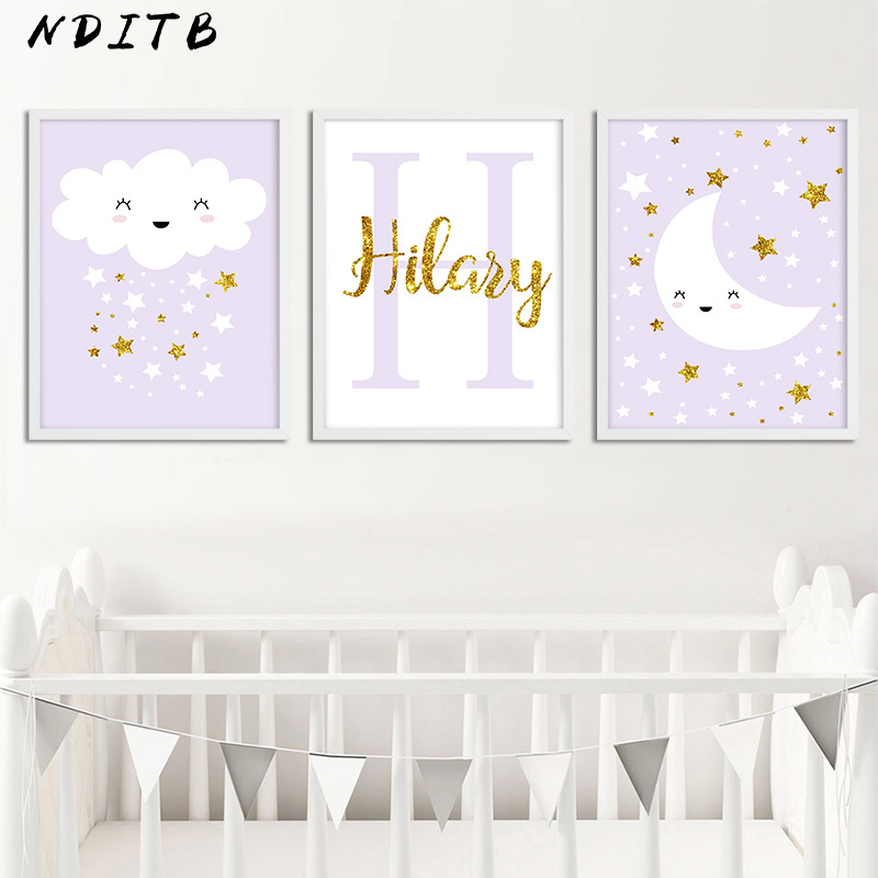 Hot Sale Custom Name Poster Cartoon Nursery Canvas Prints Cloud ...