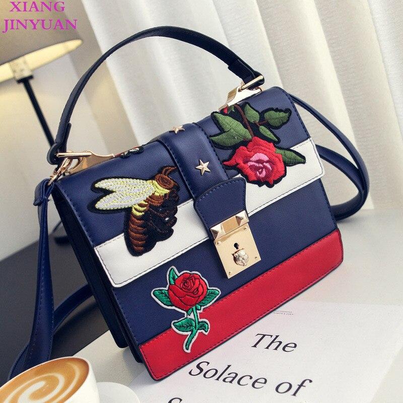 XIANGJINYUAN 2018 New Kpop Fashion Bee Floral Embroidery Women Messenger Bags Graceful Joker Contrast Color Hasp Shoulder Bag цена