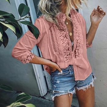 Blusa de talla grande de las mujeres, camisa de playa de encaje de manga larga Blusas Femininas sólido primavera tops y Blusas para mujer Boho