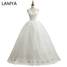 LAMYA Princess Lace V Neck off shoulder wedding Dresses 2019 Customized Bridal Dress For Women Romantic Vestidos De Novia