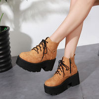 GBHHYNLH Women brown boots high Thick Heels gladiator boots Casual Shoes platform boots women Autumn shoes punk boots LJA447