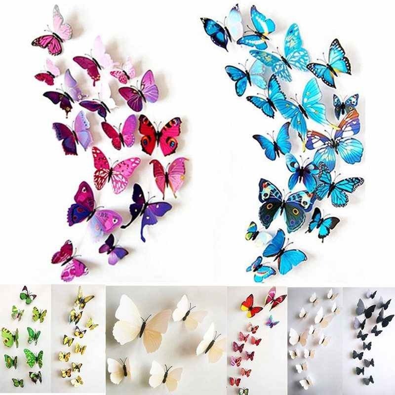 Hoomall 12PCs/lot PVC colorful Butterfly 3D Wall Stickers Home Decor For Kids Room Wall Sticker Flower For Kitchen Decals