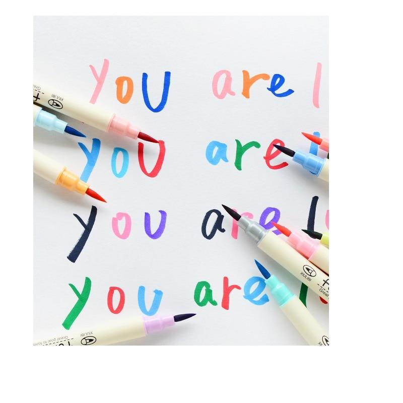 Купить с кэшбэком 40 pcs/Lot 10 Color Calligraphy pen set Art brush drawing colored marker Stationery School supplies Material escolar FB805