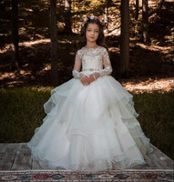 2018 Holy White Flower Girls Dresses For Weddings Lace Long Sleeves Ruched Tulle First Communion Gowns