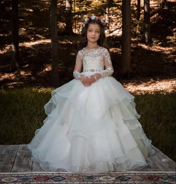 2019 White Ivory Flower Girls Dresses for Weddings Lace Long Sleeves Ruched Tulle Princess First Communion Dress Birthday Gown2019 White Ivory Flower Girls Dresses for Weddings Lace Long Sleeves Ruched Tulle Princess First Communion Dress Birthday Gown