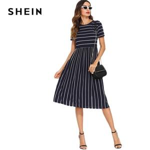 Image 5 - SHEIN Платье С Полосками Элегантное Платье С Коротким Рукавом Летние Женские Повседневные Платья