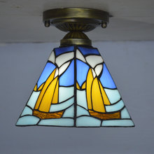 Tiffany Small Ceiling Light Stained Glass European Square Sailboat Hallway Kitchen Fixture E27 110-240V dr richard e blackwell light through stained glass