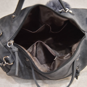 Bolish Vintage Nubuck Leather Female Top-handle Bags Rivet Larger Women Bag 8
