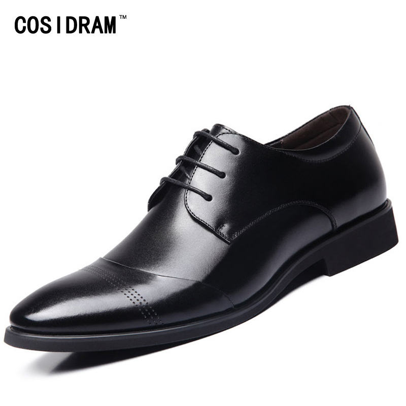 New 2017 Business Dress Men Formal Shoes Wedding Pointed Toe Fashion Genuine Leather Shoes Flats Oxford Shoes For Men BRM-436 men s pu leather wedding flats new british men shoes fashion man pointed toe formal wedding shoes male dress shoes