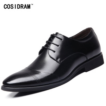 New 2017 Business Dress Men Formal Shoes Wedding Pointed Toe Fashion Genuine Leather Shoes Flats Oxford