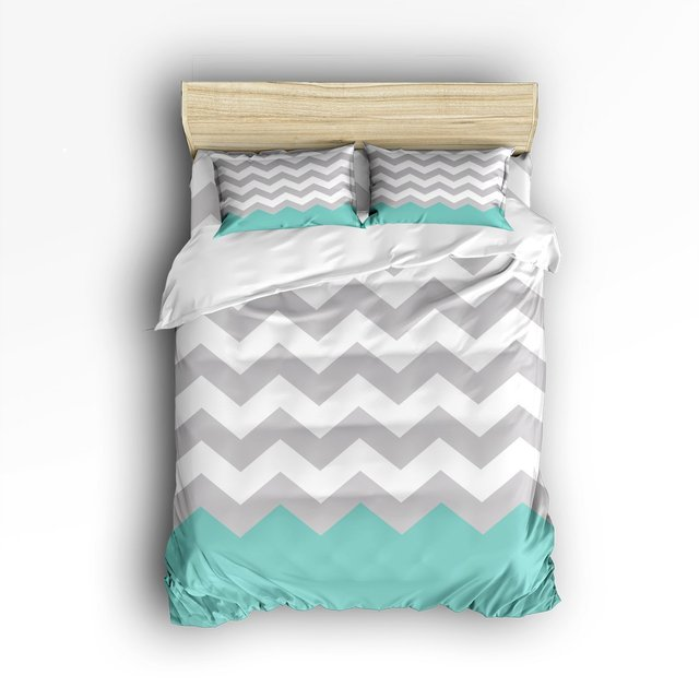 4 Piece Bed Sheets Set, White Green Grey Zig Zag Chevron Pattern, 1 Flat  Sheet 1 Duvet Cover And 2 Pillow Cases