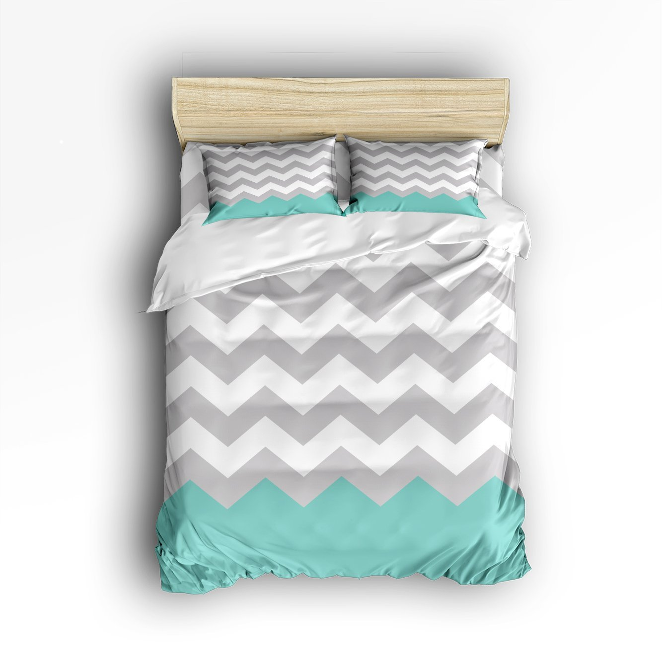 4 Piece Bed Sheets Set, <font><b>White</b></font> Green Grey Zig Zag <font><b>Chevron</b></font> Pattern, 1 Flat Sheet 1 Duvet Cover <font><b>and</b></font> 2 Pillow Cases