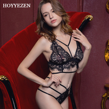 Hoyyezen new French ultra-thin transparent sexy hot gathering eyelash lace underwear bra set