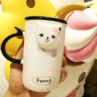 embossed ceramic cartoon cup creative fashion lover cups office