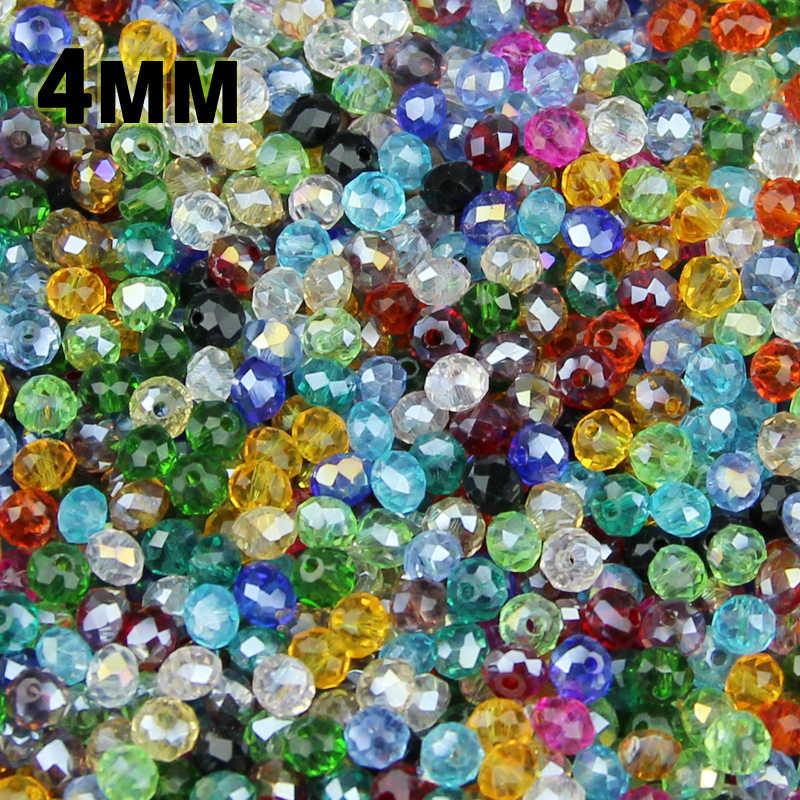 JHNBY 4 millimetri 100pcs Forma Rotonda e Piatta Sfaccettato cristalli Austriaci branelli allentati della sfera di alimentazione di vetro della collana del braccialetto Monili Che Fanno FAI DA TE