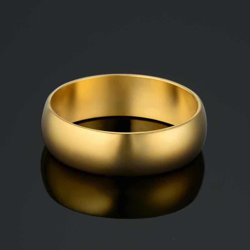 5 10# Anel Wedding Rings For Women 6MM Simple Men Gold ...