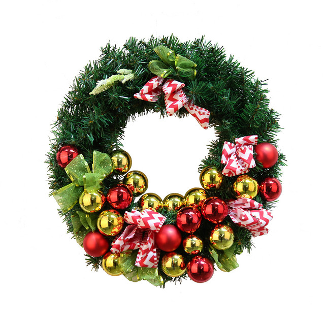 christmas wreath handmade garland window door wall hanging decorations xmas balls bowknot ornament adornos de navidad - Christmas Wall Hanging Decorations