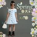 Lavensey Niñas Estilo Lindo Vestido De Luz Azul de Las Muchachas Adolescentes de La Escuela roupas infantis menina 2017 Primavera Vestido de La Muchacha