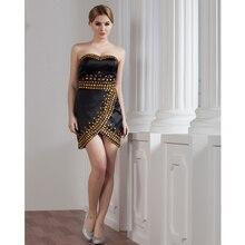 Custom Made Black Satin Beading Sexy Mini Dresses