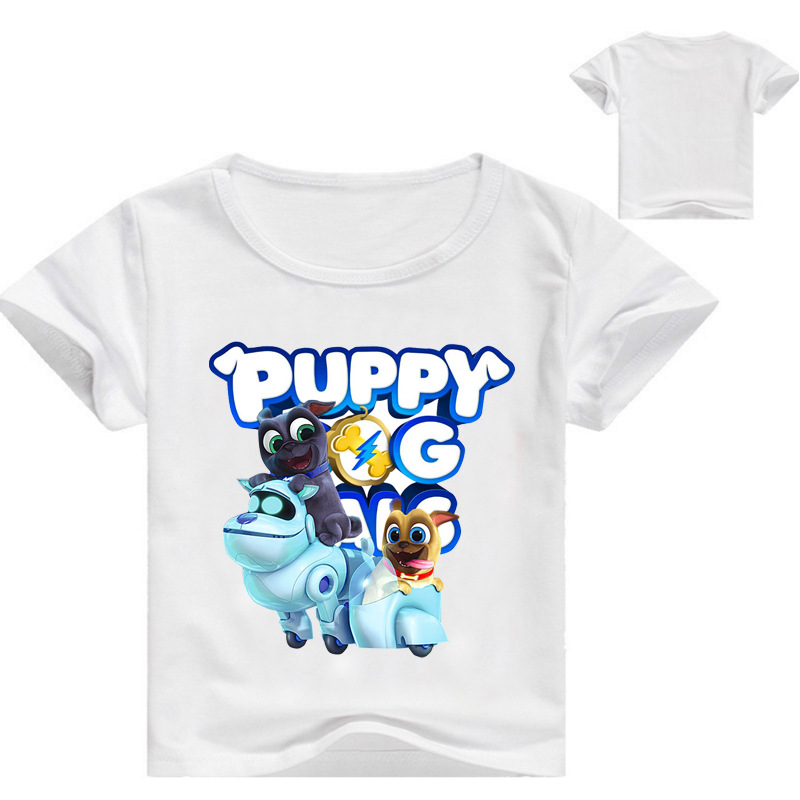 Fashion Cotton Summer Boys T-shirts Girls Children Clothes pug dog Short Sleeves Tshirts Kids Tee Tops For 4 6 8 10 12 14 Years