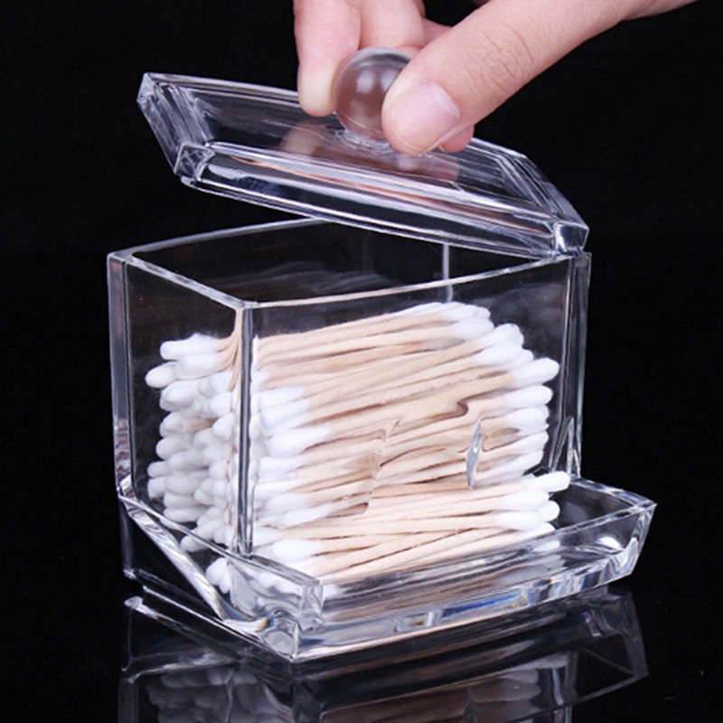 New Crystal font b Makeup b font Cotton Swabs Stick Holder Bin Storage Organizer Container Box
