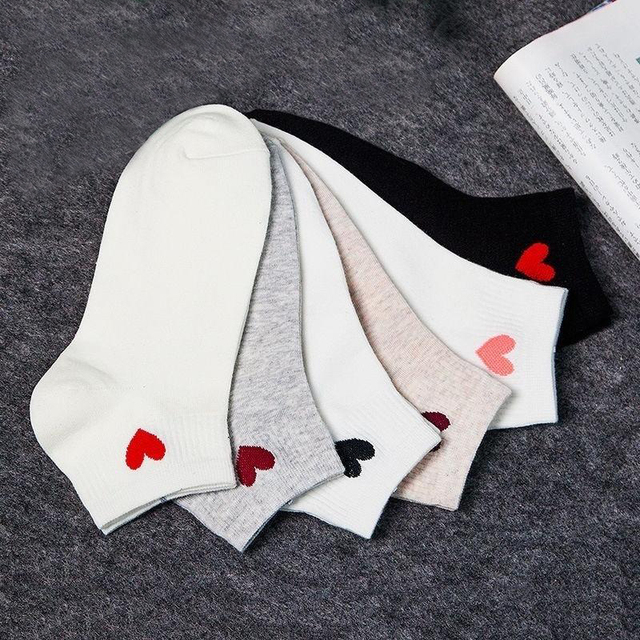 Summer Autumn Style Love Heart Socks Cute College Wind Simple Basic Fresh Breathable Cotton Women Sock