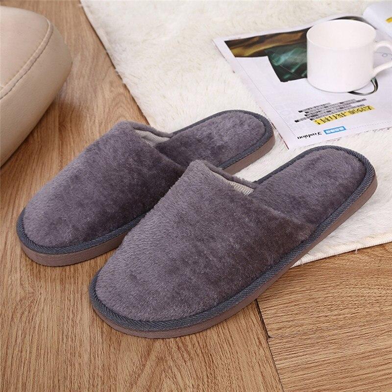 2019 Men Warm Home Plush Soft Slippers Indoors Anti-slip Winter Floor Bedroom Shoes Mans footwear men shoes 40JA2915